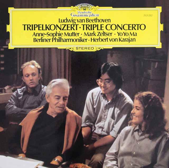 ゼルツァー、ヨーヨー・マ、ムター&カラヤンのベートーヴェン/三重協奏曲 独DGG 3305 LP レコード