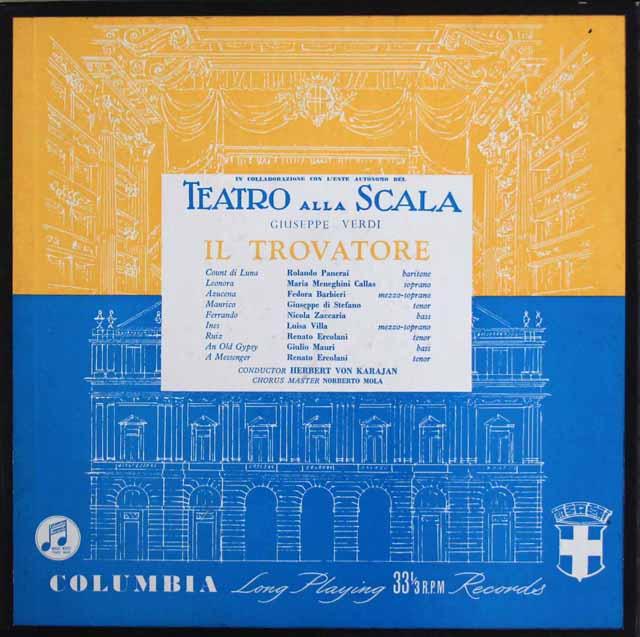 カラス&カラヤンのヴェルディ/「イル・トロヴァトーレ」 英Columbia 3307 LP レコード