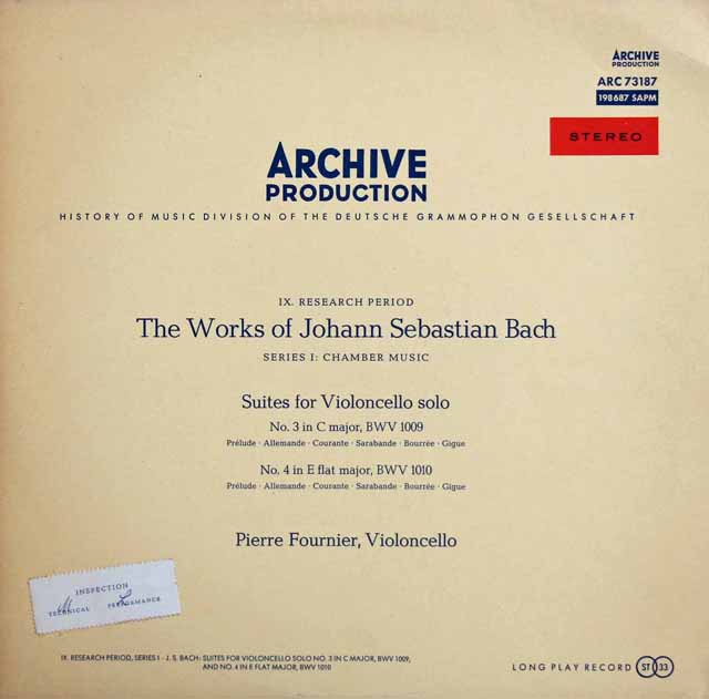 【赤ステレオ】フルニエのバッハ/無伴奏チェロ組曲第3&4番 独ARCHIV 3311 LP レコード