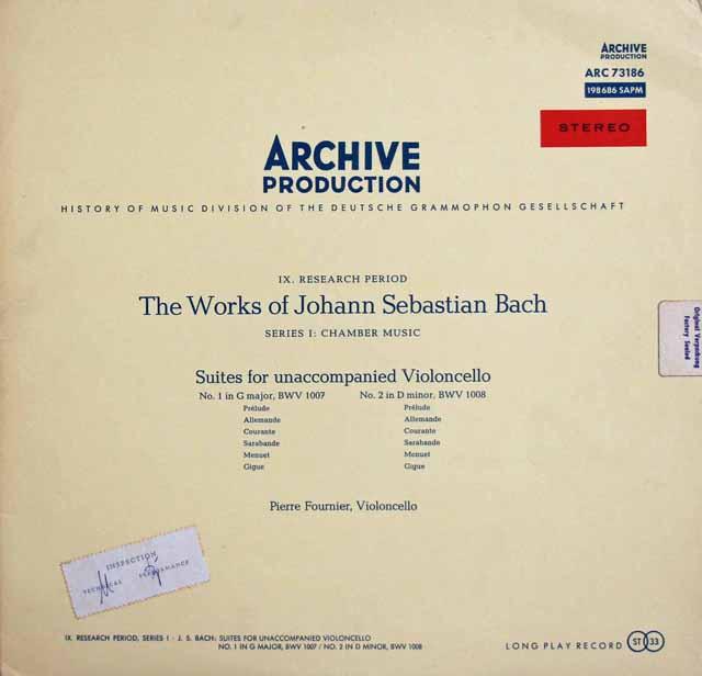 【赤ステレオ】フルニエのバッハ/無伴奏チェロ組曲第1&2番 独ARCHIV 3311 LP レコード