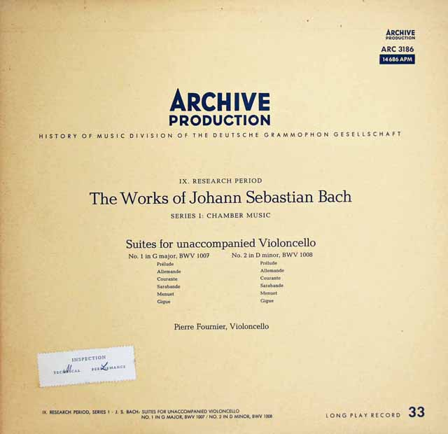 【モノラル】 フルニエのバッハ/無伴奏チェロ組曲全曲 独ARCHIV 3313 LP レコード