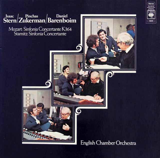 スターン&ズッカーマンのモーツァルト/協奏交響曲ほか 独CBS 3323 LP レコード