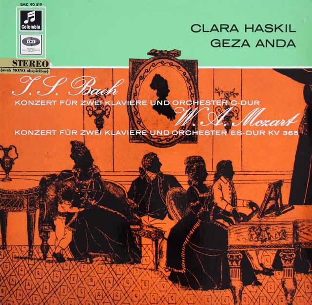 ハスキル&アンダのバッハ&モーツァルト/2台のピアノのための協奏曲 独Columbia 3323 LP レコード