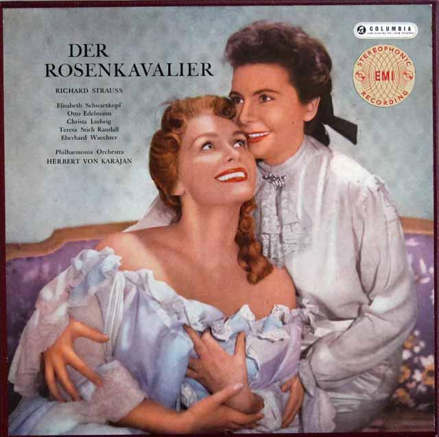 【オリジナル盤・リブレット付】 カラヤンのR.シュトラウス/「ばらの騎士」全曲 英Columbia 3324 LP レコード