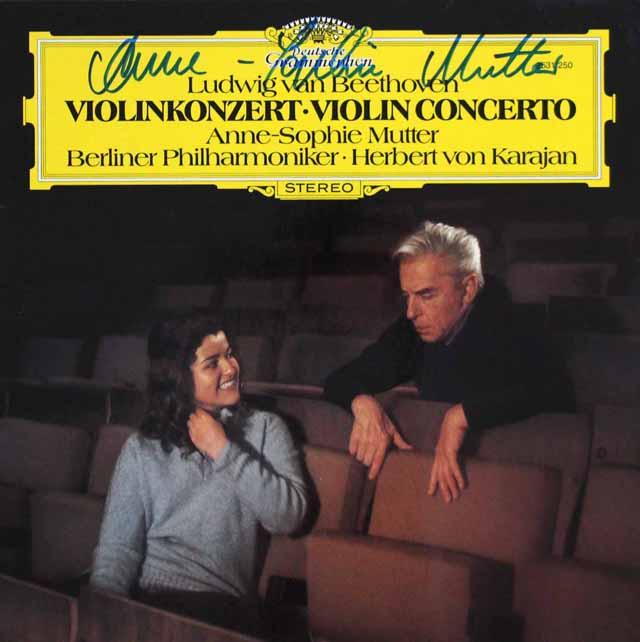 【直筆サイン入り】 ムター、カラヤンのベートーヴェン/ヴァイオリン協奏曲 独DGG 3332 LP レコード