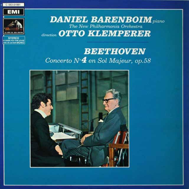バレンボイム&クレンペラーのベートーヴェン/ピアノ協奏曲第4番  仏EMI(VSM)  2633 LP レコード