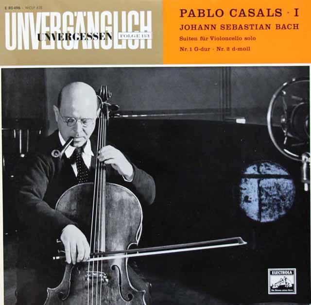カザルスのバッハ/無伴奏チェロ組曲第1&2番 独EMI 3010 LP レコード