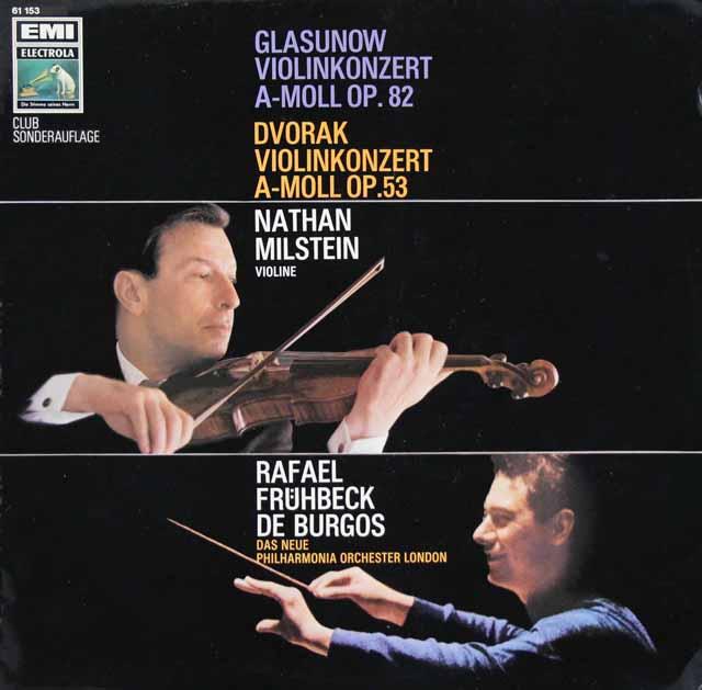 ミルシュタイン&ブルゴスのドヴォルザーク&グラズノフ/ヴァイオリン協奏曲 独EMI 3398 LP レコード