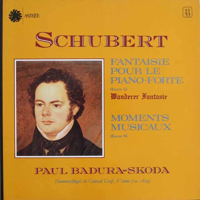 スコダのシューベルト/さすらい人幻想曲&楽興のとき 仏ASTREE 3304 LP レコード