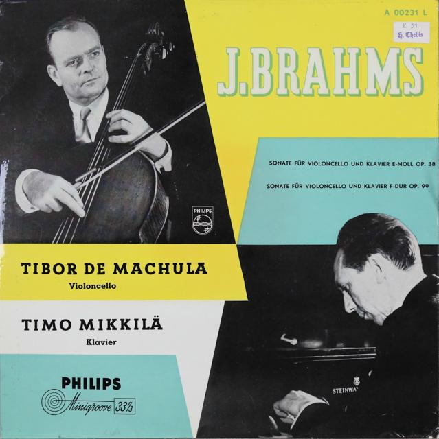 マヒューラ&ミッキラのブラームス/チェロソナタ第1&2番 蘭PHILIPS 3287 LP レコード