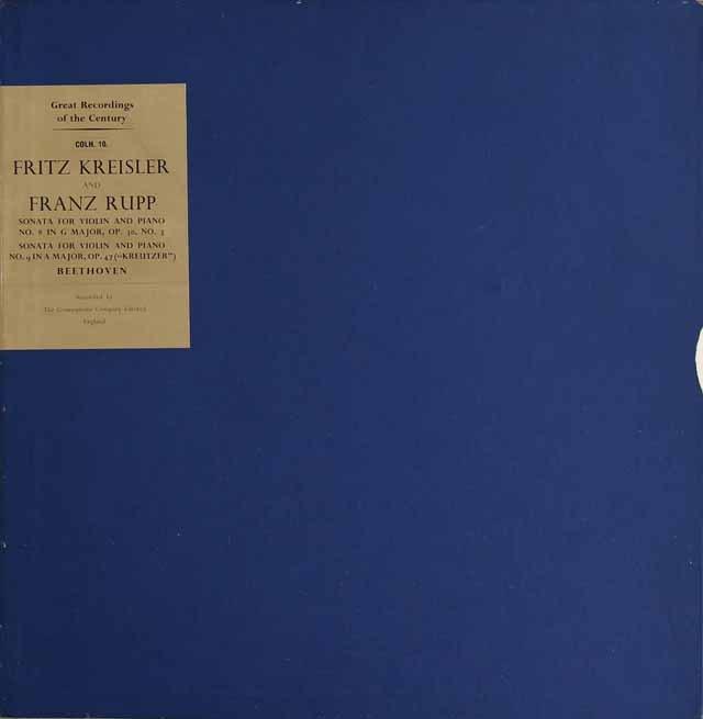 クライスラー&ルップのベートーヴェン/ヴァイオリンソナタ「クロイツェル」ほか 英EMI(HMV) 3296 LP レコード