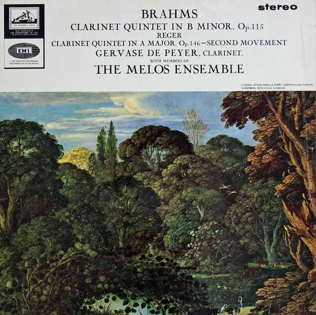 ド・ペイエ&メロス・アンサンブルのブラームス&レーガー/クラリネット五重奏曲集 英EMI オリジナル盤 2827 LP レコード