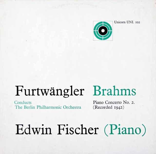 フィッシャー&フルトヴェングラーのブラームス/ピアノ協奏曲第2番  英Unicorn 3037 LP レコード