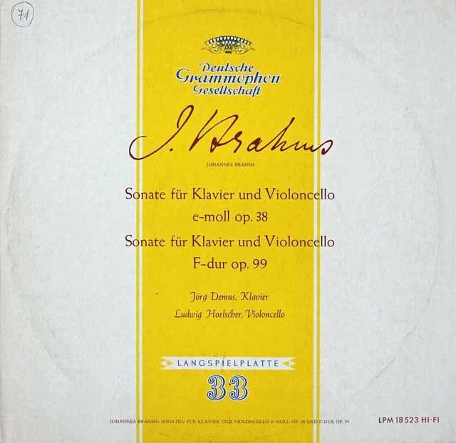 ヘルシャー&デームスのブラームス/チェロソナタ第1&2番 独DGG 2821 LP レコード