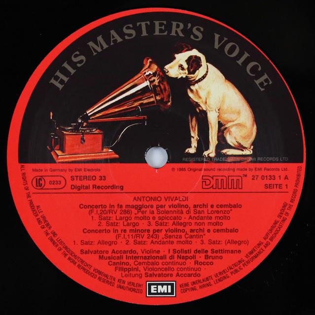 アッカルドのヴィヴァルディ/協奏曲集  独EMI  3287 LP レコード