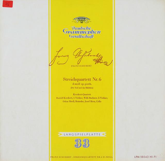 ケッケルト四重奏団のシューベルト/弦楽四重奏曲「死と乙女」 独DGG 2750 LP レコード