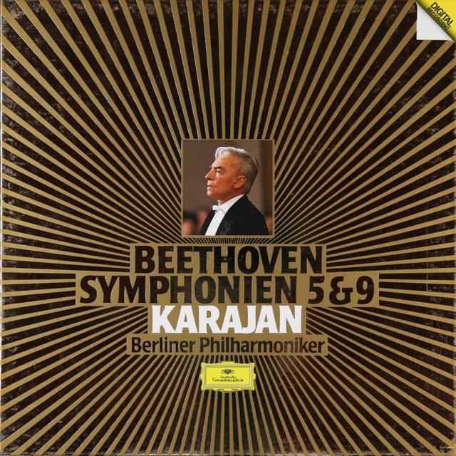 カラヤンのベートーヴェン/交響曲第5&9番 独DGG 2802 LP レコード