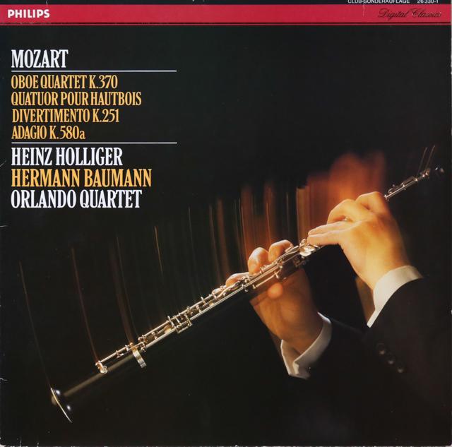ホリガーらのモーツァルト/オーボエ四重奏曲ほか 独PHILIPS 2803 LP レコード
