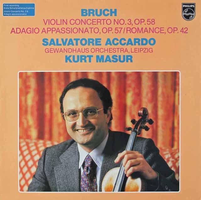 アッカルド&マズアのブルッフ/ヴァイオリン協奏曲第3番ほか 蘭PHILIPS 2822 LP レコード