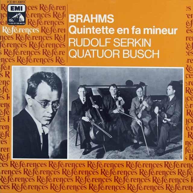 ゼルキン&ブッシュ四重奏団のブラームス/ピアノ五重奏曲 仏EMI(VSM) 3296 LP レコード