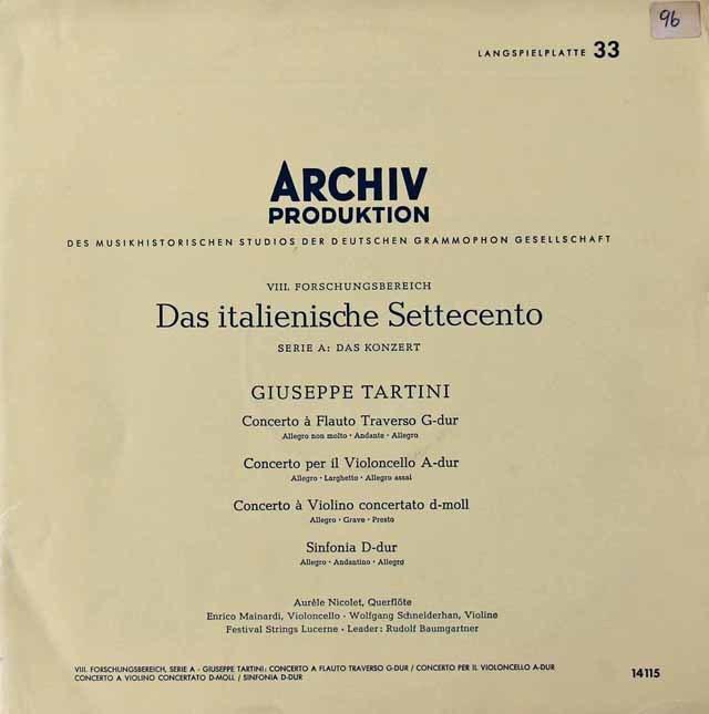 バウムガルトナー&ニコレらの18世紀イタリア音楽 独ARCHIV 3296 LP レコード