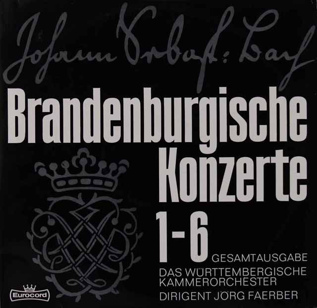 ラウテンバッハータ&フェルバーらのバッハ/ブランデンブルク協奏曲 独Eurocord 2828 LP レコード