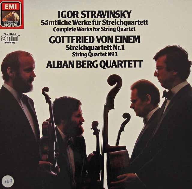 アルバン・ベルク四重奏団のストラヴィンスキー/弦楽四重奏のための3つの小品ほか  独EMI 2830 LP レコード