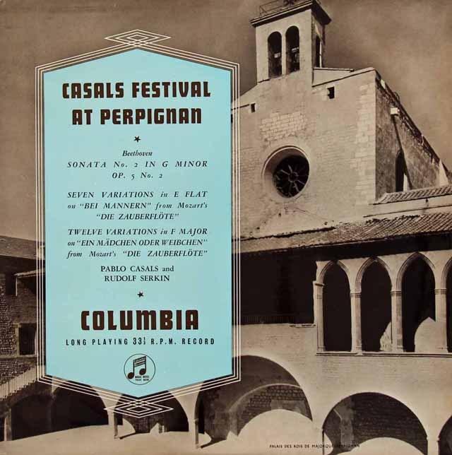 【オリジナル盤】カザルス&ゼルキンのベートーヴェン/チェロソナタ第2番ほか 英Columbia 2833 LP レコード