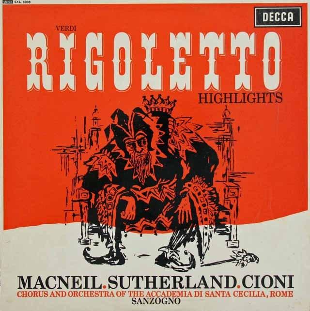 サンツォーニョのヴェルディ/「リゴレット」抜粋 英DECCA 3295 LP レコード