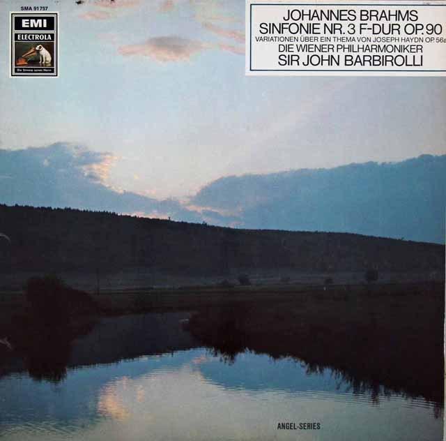 【独最初期盤】バルビローリのブラームス/交響曲第3番&ハイドン変奏曲 独EMI 3220 LP レコード