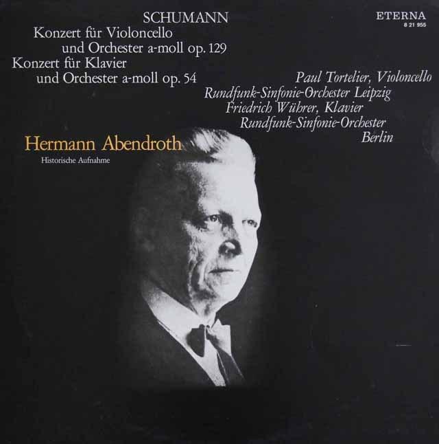 トルトゥリエ、ヴューラー&アーベントロートのシューマン/ピアノ&チェロ協奏曲集 独ETERNA 3220 LP レコード