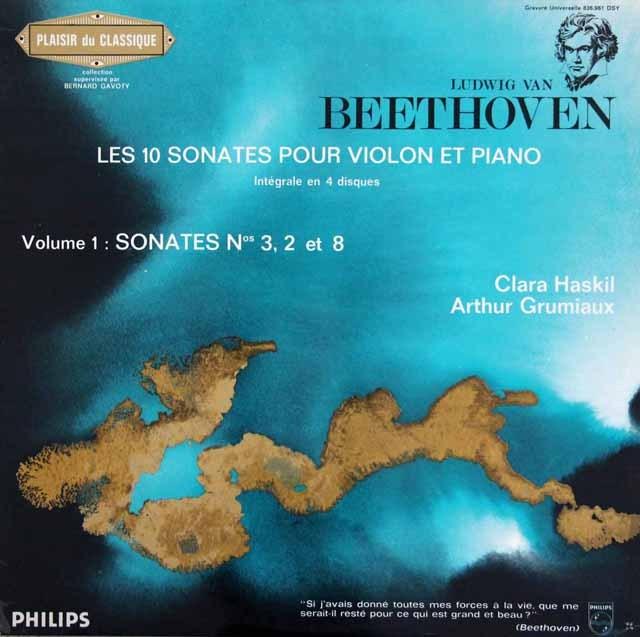 グリュミオー&ハスキルのベートーヴェン/ヴァイオリンソナタ第3,2&8番 仏PHILIPS 3220 LP レコード