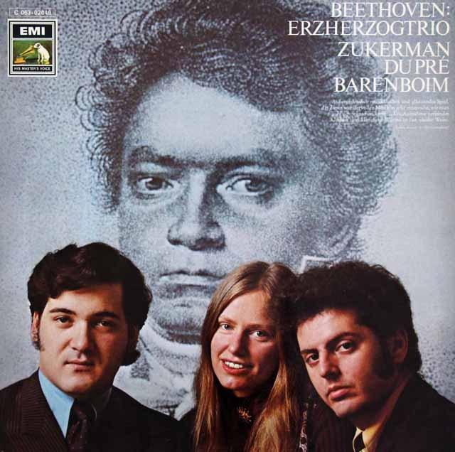 ズッカーマン、デュ・プレ&バレンボイムのベートーヴェン/ピアノ三重奏曲「大公」ほか 独EMI 2843 LP レコード