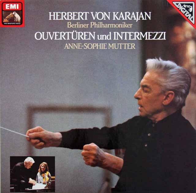 カラヤン&ムターのオペラ序曲、間奏曲集 独EMI 2843 LP レコード