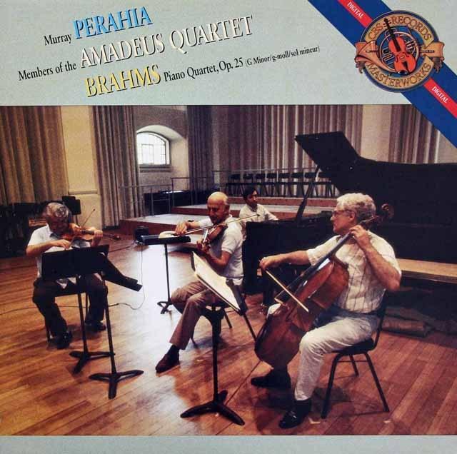 ペライア&アマデウス四重奏団のブラームス/ピアノ四重奏曲第1番 蘭CBS 2843 LP レコード