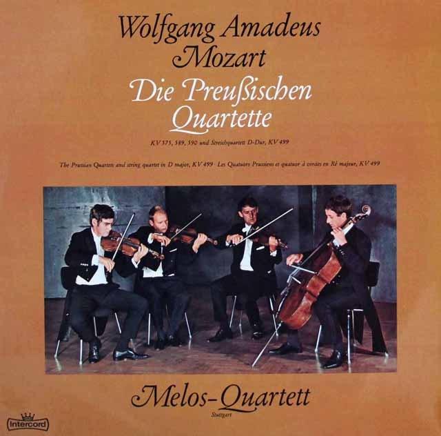 メロス四重奏団のモーツァルト/弦楽四重奏曲「プロシア王セット」&第20番 独Intercord 2848 LP レコード