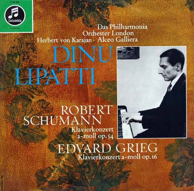 リパッティ&カラヤンほかのシューマン&グリーグ/ピアノ協奏曲集   独Columbia 2848 LP レコード