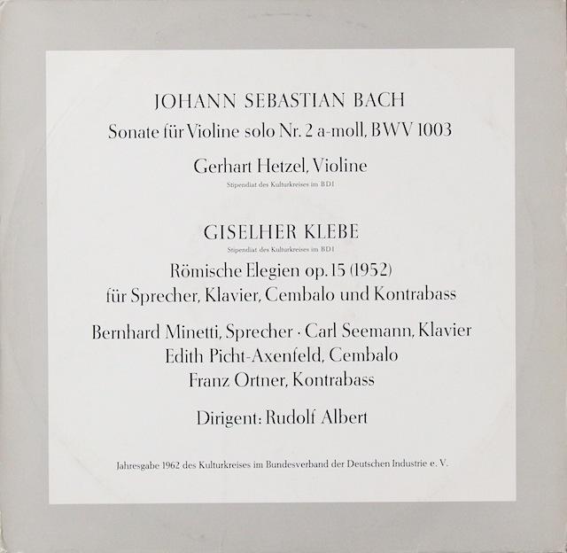 ヘッツェルのバッハ/無伴奏ヴァイオリンソナタ第2番ほか 独DGG 2818 LP レコード