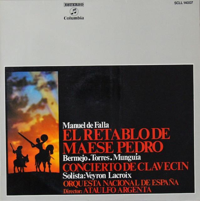 アルヘンタのファリャ/「ペドロ親方の人形芝居」ほか スペインColumbia 2818 LP レコード