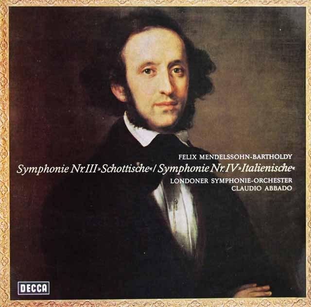 アバドのメンデルスゾーン/交響曲第3番「スコットランド」& 第4番「イタリア」 独DECCA 3285 LP レコード