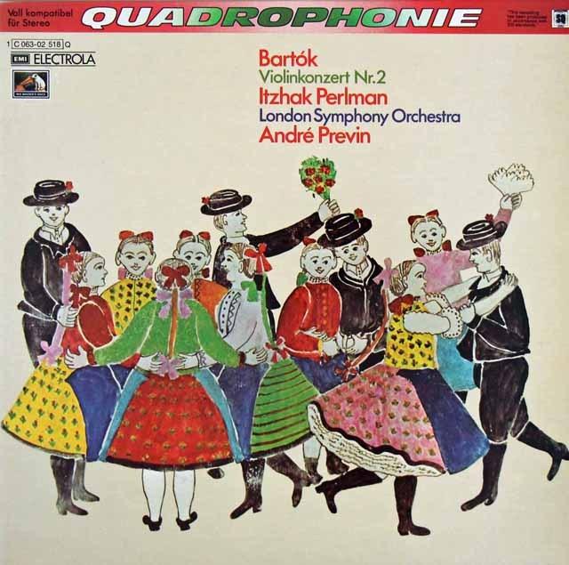 パールマン&プレヴィンのバルトーク/ヴァイオリン協奏曲第2番 独EMI 3284 LP レコード
