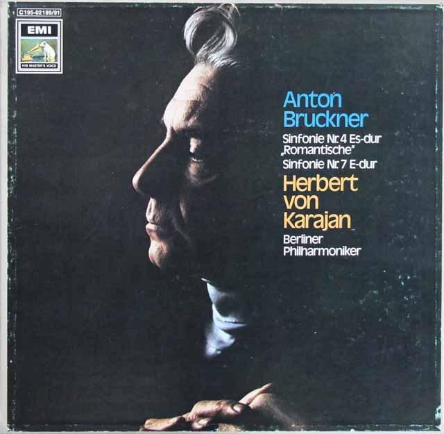 カラヤンのブルックナー/交響曲第4番「ロマンティック」&第7番 独EMI 2911 LP レコード