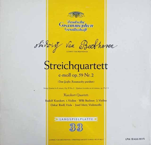 ケッケルト四重奏団のベートーヴェン/弦楽四重奏曲第8番「ラズモフスキー第2番」 独DGG 2913 LP レコード