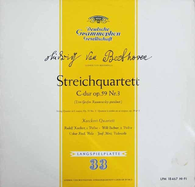 ケッケルト四重奏団のベートーヴェン/弦楽四重奏曲第9番「ラズモフスキー第3番」 独DGG 2913 LP レコード