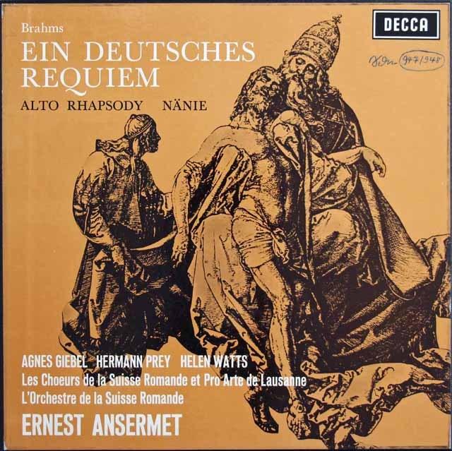 アンセルメのブラームス/ドイツ・レクイエム 英DECCA 3283 LP レコード