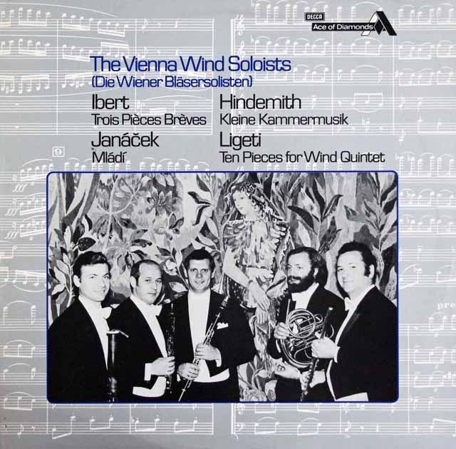 ウィーン・フィル管楽ゾリステンのイベール、ヤナーチェクほか室内楽曲集 英DECCA 2917 LP レコード