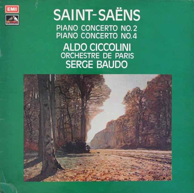 チッコリーニ&ボドのサン=サーンス/ピアノ協奏曲第2&4番 英EMI 3283 LP レコード