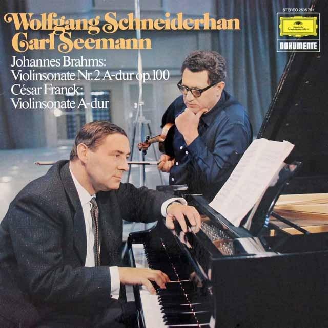 シュナイダーハン&ゼーマンのブラームス/ヴァイオリンソナタ第2番ほか 独DGG 3282 LP レコード