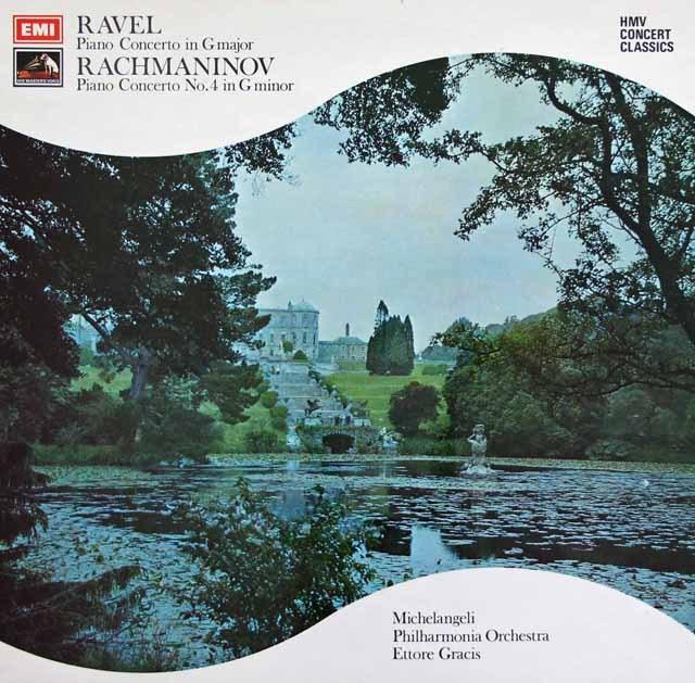 ミケランジェリ&グラチスのラフマニノフ&ラヴェル/ピアノ協奏曲集 英EMI 2923 LP レコード