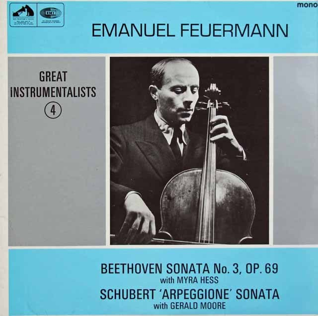 【オリジナル盤】フォイアーマンのベートーヴェン/チェロソナタ第3番ほか 英EMI 2923 LP レコード